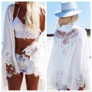 Summer Kimono,Beach Coverup,Eagle coverup